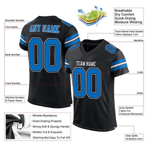 Custom Black Panther Blue-White Mesh Authentic Football Jersey