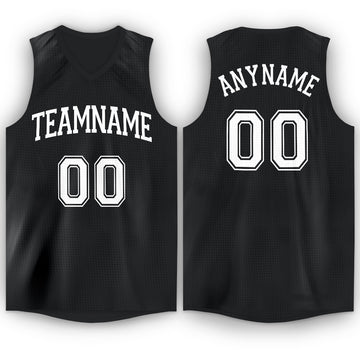 Custom Black White V-Neck Basketball Jersey
