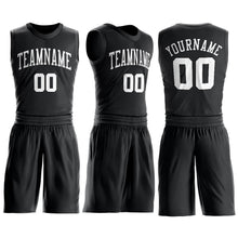 Load image into Gallery viewer, Custom Black White Round Neck Suit Basketball Jersey