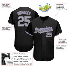 Load image into Gallery viewer, Custom Black Gray-Purple Authentic Baseball Jersey
