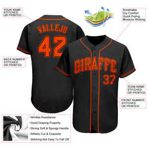 Custom Black Orange Authentic Baseball Jersey
