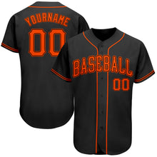 Load image into Gallery viewer, Custom Black Orange Authentic Baseball Jersey