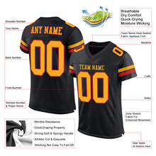 Load image into Gallery viewer, Custom Black Gold-Scarlet Mesh Authentic Football Jersey