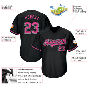Custom Black Pink-White Authentic Throwback Rib-Knit Baseball Jersey Shirt