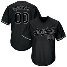 Load image into Gallery viewer, Custom Black Black-Gray Authentic Throwback Rib-Knit Baseball Jersey Shirt