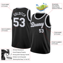 Load image into Gallery viewer, Custom Black White-Silver Gray Round Neck Rib-Knit Basketball Jersey