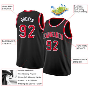 Custom Black Red-White Round Neck Rib-Knit Basketball Jersey
