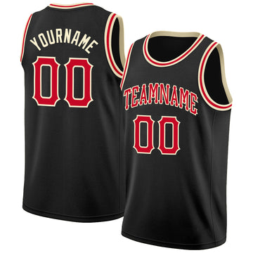 Custom Black Red-Cream Round Neck Rib-Knit Basketball Jersey