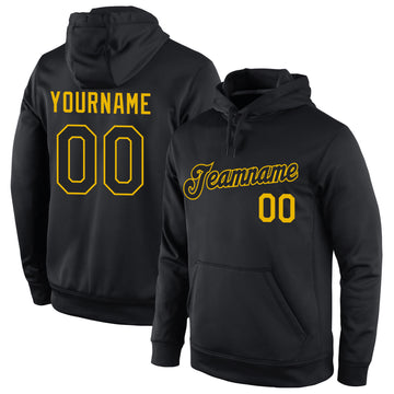 Custom Stitched Black Black-Gold Sports Pullover Sweatshirt Hoodie
