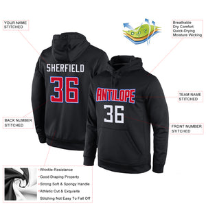 Custom Stitched Black Red-White Sports Pullover Sweatshirt Hoodie