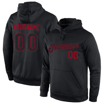 Custom Stitched Black Black-Red Sports Pullover Sweatshirt Hoodie