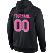 Load image into Gallery viewer, Custom Stitched Black Pink-White Sports Pullover Sweatshirt Hoodie
