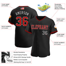 Load image into Gallery viewer, Custom Black Red-Gray Authentic American Flag Fashion Baseball Jersey