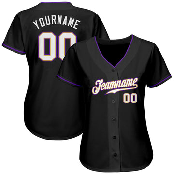 Custom Black White-Purple Authentic Baseball Jersey
