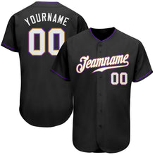 Load image into Gallery viewer, Custom Black White-Purple Authentic Baseball Jersey