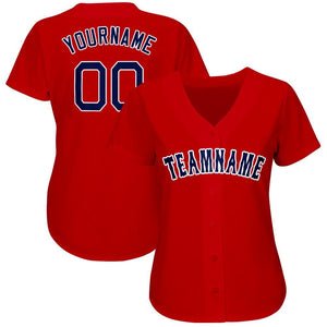 Custom Red Navy-White Baseball Jersey