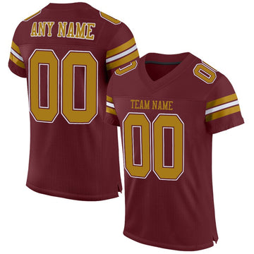 Custom Burgundy Old Gold-White Mesh Authentic Football Jersey