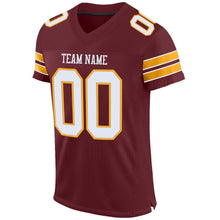 Load image into Gallery viewer, Custom Burgundy White-Gold Mesh Authentic Football Jersey