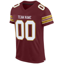 Load image into Gallery viewer, Custom Burgundy White-Old Gold Mesh Authentic Football Jersey