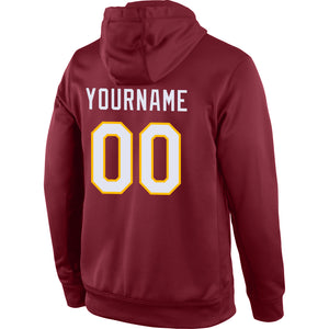 Custom Stitched Burgundy White-Gold Sports Pullover Sweatshirt Hoodie