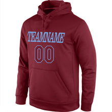 Load image into Gallery viewer, Custom Stitched Burgundy Burgundy-Light Blue Sports Pullover Sweatshirt Hoodie