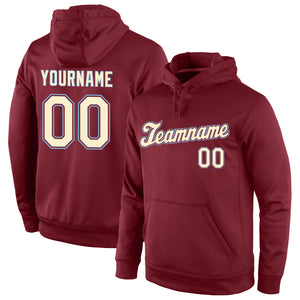 Custom Stitched Burgundy Cream-Light Blue Sports Pullover Sweatshirt Hoodie