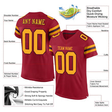 Load image into Gallery viewer, Custom Cardinal Gold-Black Mesh Authentic Football Jersey