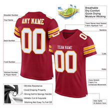 Load image into Gallery viewer, Custom Cardinal White-Gold Mesh Authentic Football Jersey