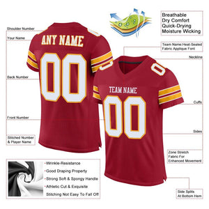 Custom Cardinal White-Gold Mesh Authentic Football Jersey