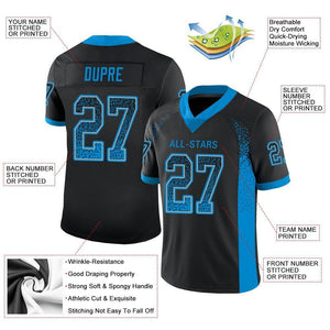 Custom Black Panther Blue-Gray Mesh Drift Fashion Football Jersey