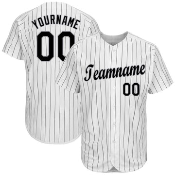 Custom White Black Strip Black-Gray Baseball Jersey