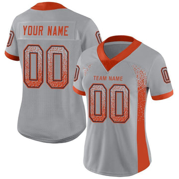 Custom Light Gray Orange-Navy Mesh Drift Fashion Football Jersey