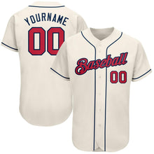 Load image into Gallery viewer, Custom Cream Red-Navy Authentic Baseball Jersey