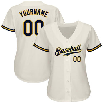 Custom Cream Navy-Gold Authentic Baseball Jersey