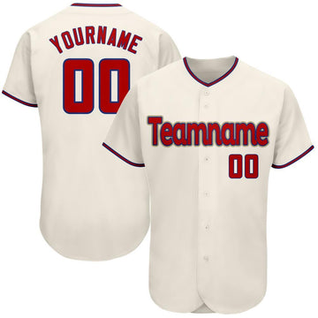Custom Cream Red-Royal Authentic Baseball Jersey