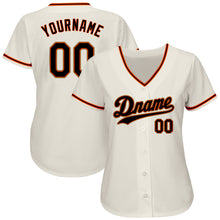 Load image into Gallery viewer, Custom Cream Black-Orange Authentic Baseball Jersey
