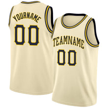 Load image into Gallery viewer, Custom Cream Navy-Gold Round Neck Rib-Knit Basketball Jersey