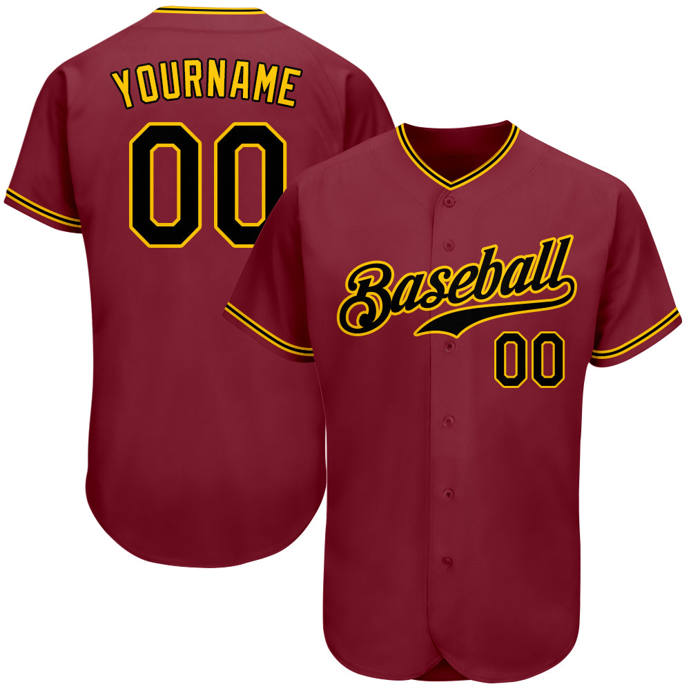 Custom Crimson Black-Gold Authentic Baseball Jersey
