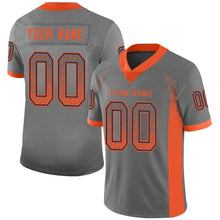 Load image into Gallery viewer, Custom Gray Orange-Navy Mesh Drift Fashion Football Jersey