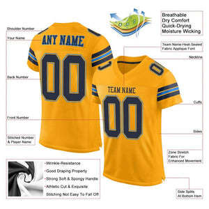 Custom Gold Navy-Powder Blue Mesh Authentic Football Jersey