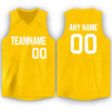 Load image into Gallery viewer, Custom Gold White V-Neck Basketball Jersey