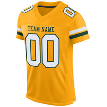 Load image into Gallery viewer, Custom Gold White-Green Mesh Authentic Football Jersey