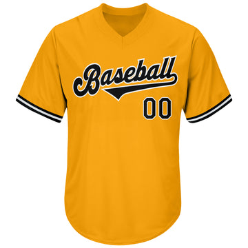 Custom Gold Black-White Authentic Throwback Baseball Jersey