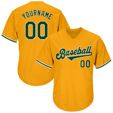 Custom Gold Green-White Authentic Throwback Baseball Jersey