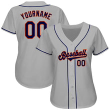 Load image into Gallery viewer, Custom Gray Navy-Orange Authentic Baseball Jersey