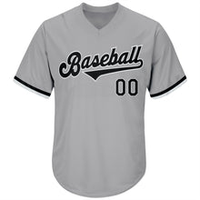 Load image into Gallery viewer, Custom Gray Black-White Authentic Throwback Rib-Knit Baseball Jersey Shirt