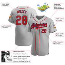Load image into Gallery viewer, Custom Gray Red-Navy Authentic Baseball Jersey