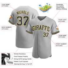 Load image into Gallery viewer, Custom Gray Navy-Gold Authentic Baseball Jersey