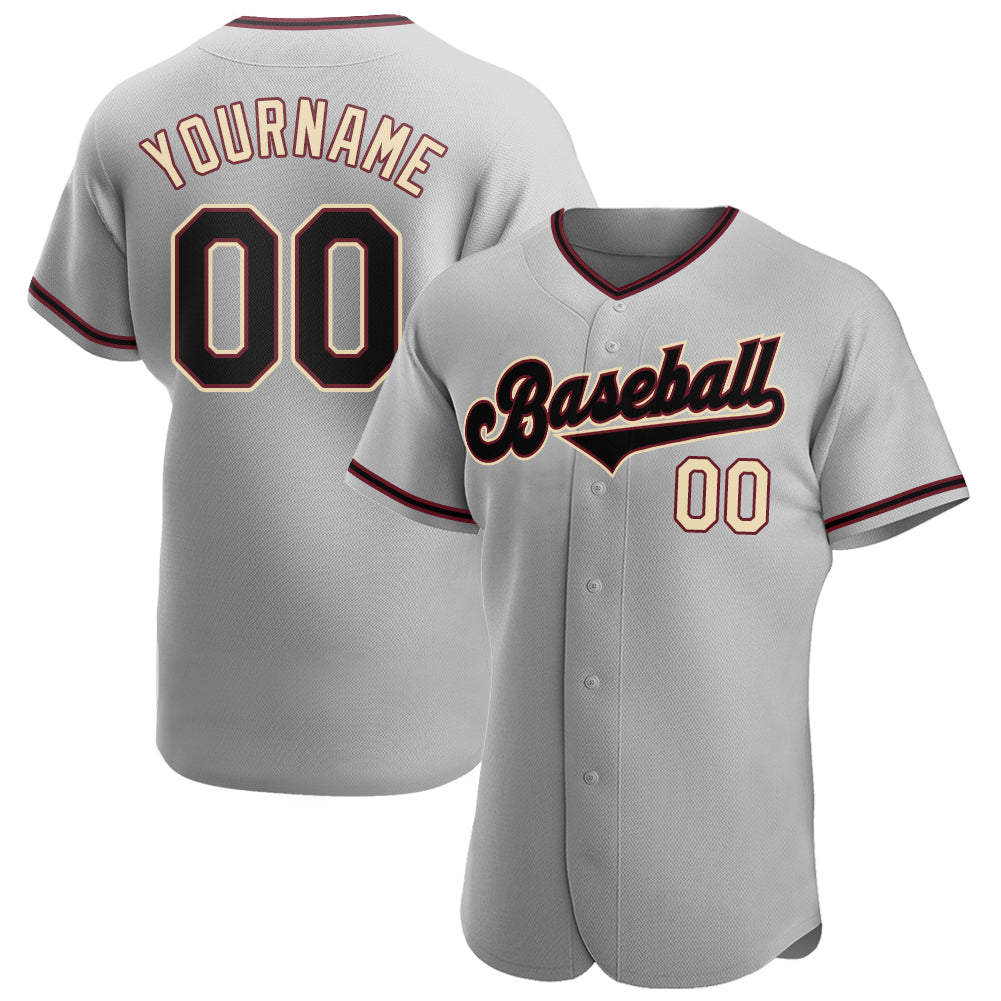 Custom Gray Black-Khaki Authentic Baseball Jersey