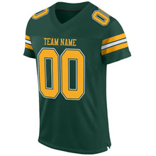Load image into Gallery viewer, Custom Green Gold-White Mesh Authentic Football Jersey